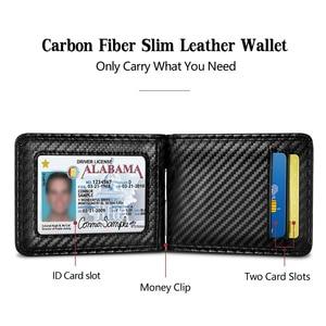 Image 4 - NewBring 블랙 카본 화이버 머니클립 RFID 차단 면허증 신용카드 수납,