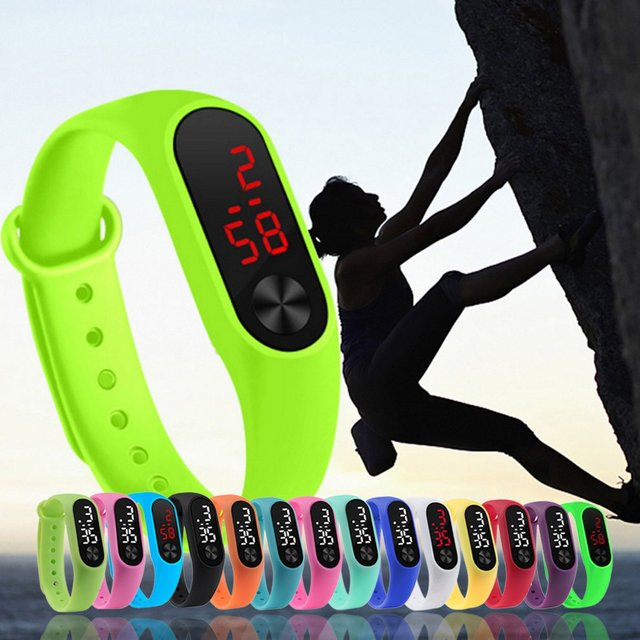 Men Women Casual Sports Bracelet Watches White LED Electronic Digital Candy Color Silicone Wrist Watch for Children Kids 5