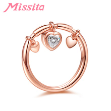 MISSITA Romantic Jewelry Rings Fashion Silver Rose Gold Color Crystal Heart Pendant Wedding for Women Girl Bague