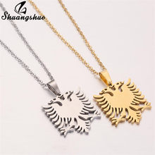 Shuangshuo Gold Steel Color Albanian Eagle Necklace for Women Men Origami Animal Movie Jewelry Stainless Steel joias feminina(China)