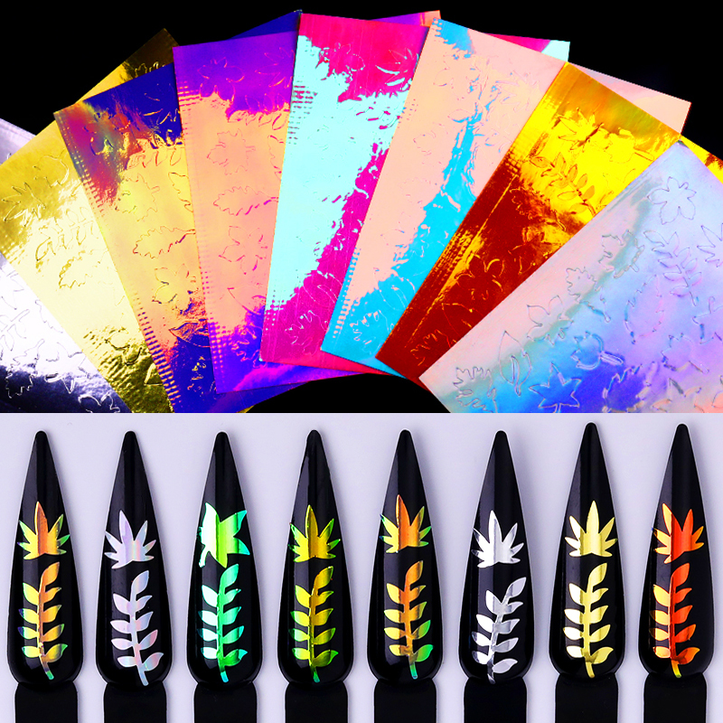 1 Sheet Nail Sticker Colorful Maple Leaf Mixed Patterns Nail Transfer Stickers Nail Art DIY Beauty Design Decorations