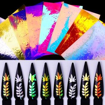 1 hoja de pegatinas de uñas coloridas Hojas de arce patrones mixtos Transferencia de uñas calcomanías para arte de uñas DIY Decoraciones y diseños de belleza