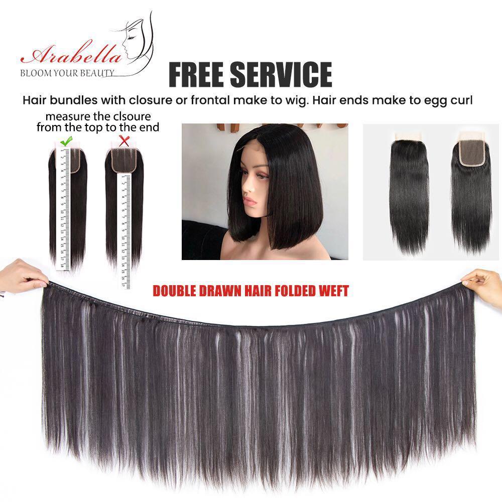Super Double Drawn Virgin Hair Bundles Arabella  Straight Hair For Top Customer 100%  Bundles With Closure 4