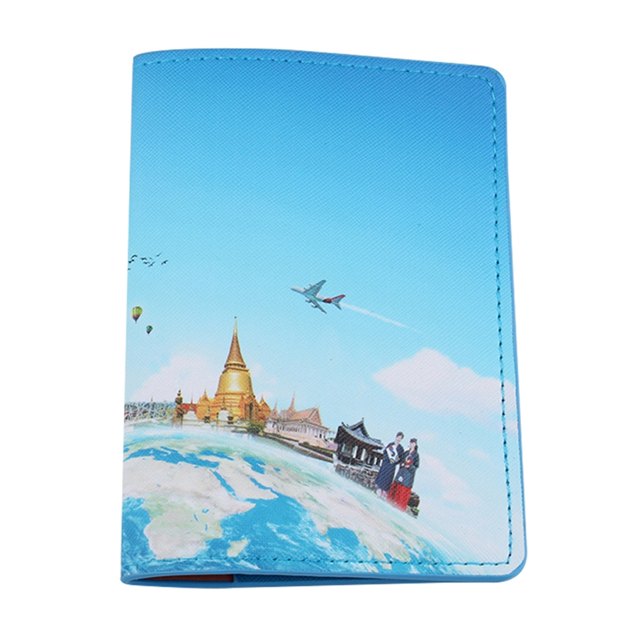 Jiexi World Map Passport Cover Flowers Passport Case Cover Card Holder Travel Accessories Passport Wallet For Travel CH16