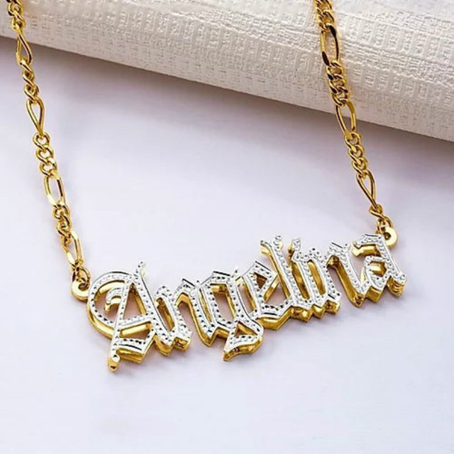 3UMeter Hip Hop Letter Necklace Name Gothic Double Plated Name Necklace Old English Custom Carving Batch of Flowers for Gifts