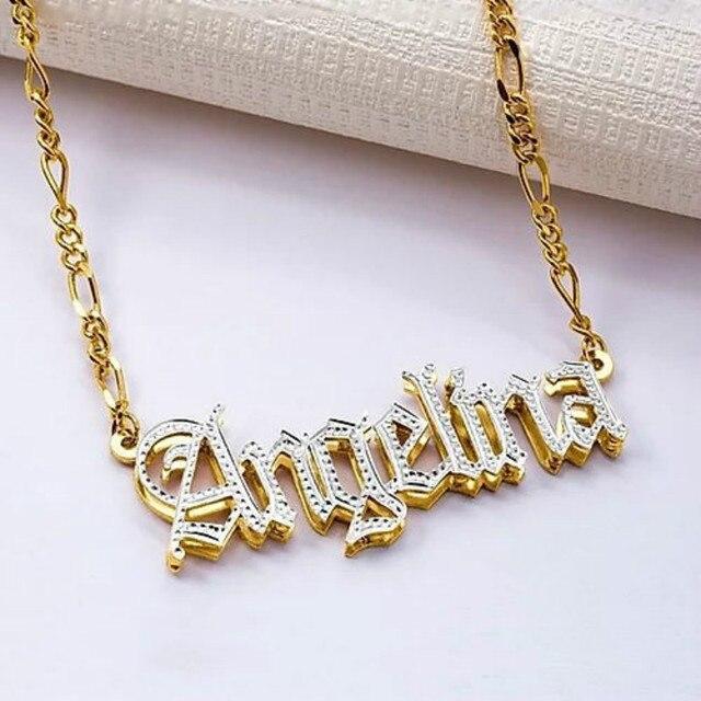 3umeter hip hop carta colar nome cristal duplo banhado nome colar antigo inglês personalizado escultura lote de flores para presentes