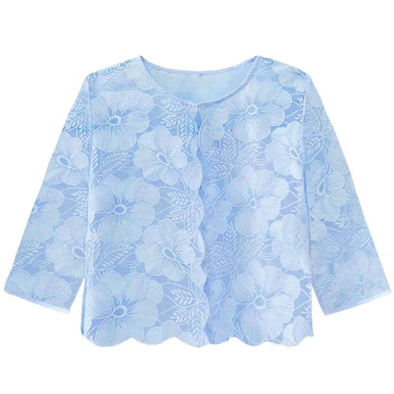 Women Lace Summer Short Cardigan Feminino Sunscreen Blouse 2020 Elegant O-neck Hollow Out Shirts Tops Plus Size 3XL