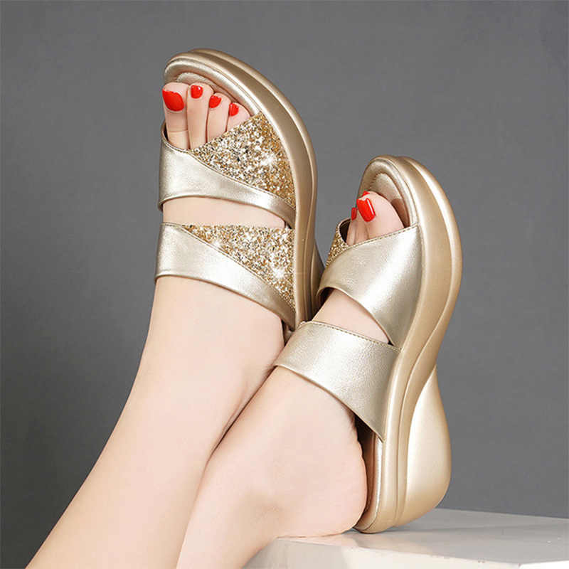 Women Summer Slippers Ladies Glitter PU Wedges Shoes Female Casual Slingbacks Sandals Comfortable Platform Woman Shoes