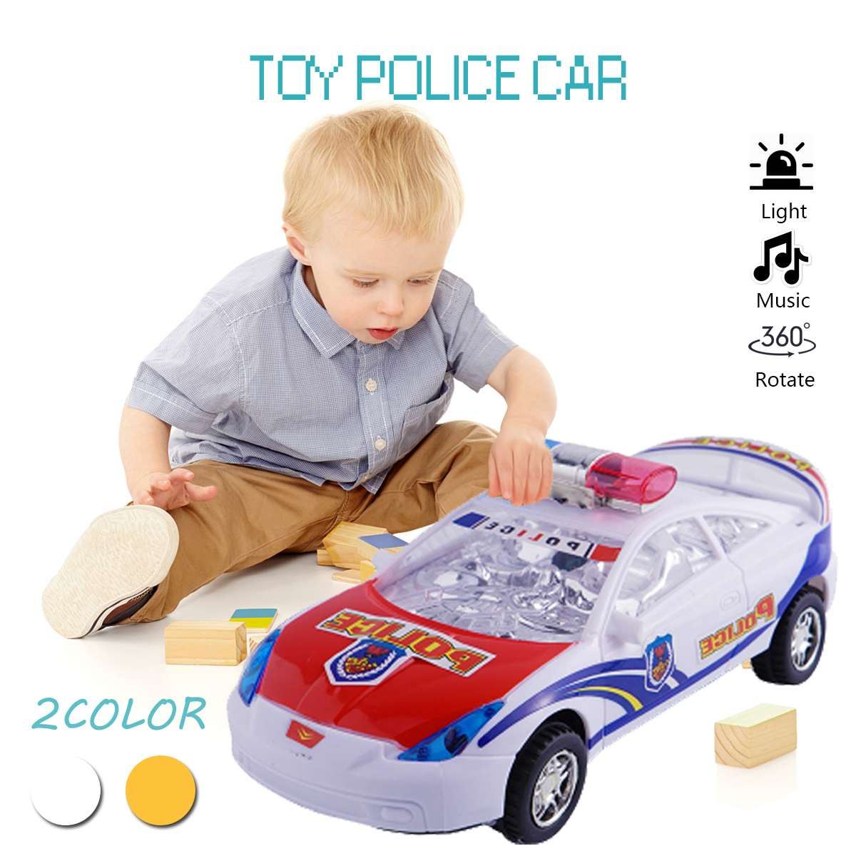 Leds Black Magics LED Car Toys With Flashing Lights Glowing Polices Car Educational Toys Boys Girls Birthday Gift Kids Toys