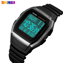 SKMEI New Fashion Digital Electronic Men Watches Sport Waterproof Alarm Wristwatch Military Chronograph Clock Relogio Masculino cheap Plastic 24cm 5Bar Buckle Square 18mm 13mm Resin Stop Watch Back Light Shock Resistant LED display Auto Date Complete Calendar