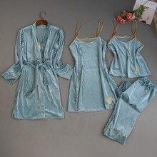 2019 ฤดูใบไม้ร่วงฤดูหนาว 4 ชิ้นชุดนอนสตรีชุดกำมะหยี่ชุดนอนชุดนอนเย็บปักถักร้อยชุดนอนสปาเก็ตตี้สายคล้องคอ Sleep Lounge Pijama