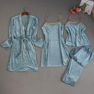 Image 1 - 2019 herbst Winter 4 Stück Frauen Pyjamas Sets Samt Nachtwäsche Nachtwäsche Stickerei Pyjama Spaghetti Strap Schlaf Lounge Pijama