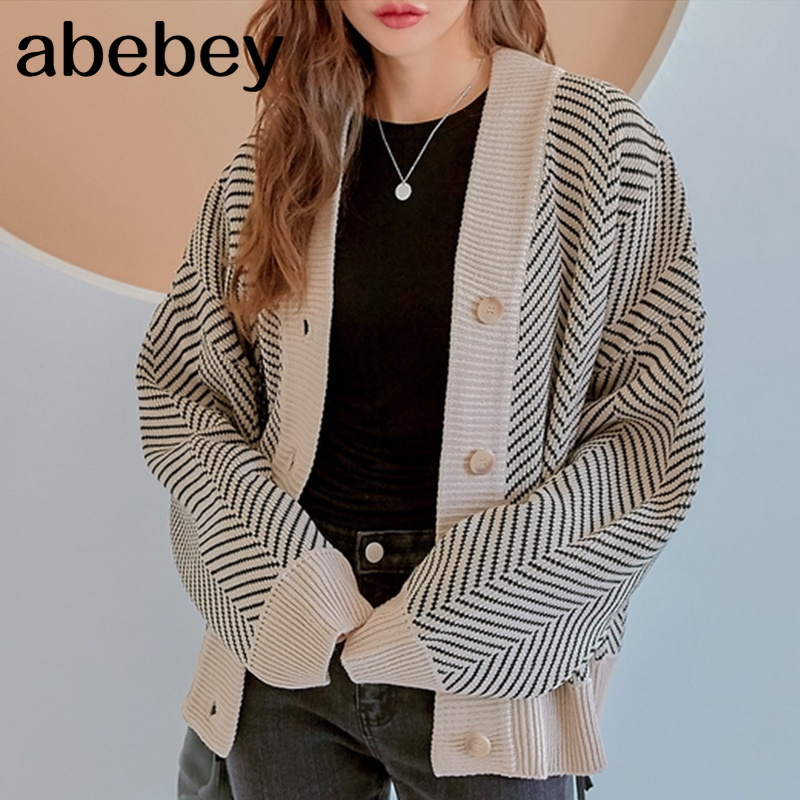 Casual Knitted Cardigan Oversize Button Front Contrast Stripe Cardigan Autumn Winter Women Sweater Feminino Tops *