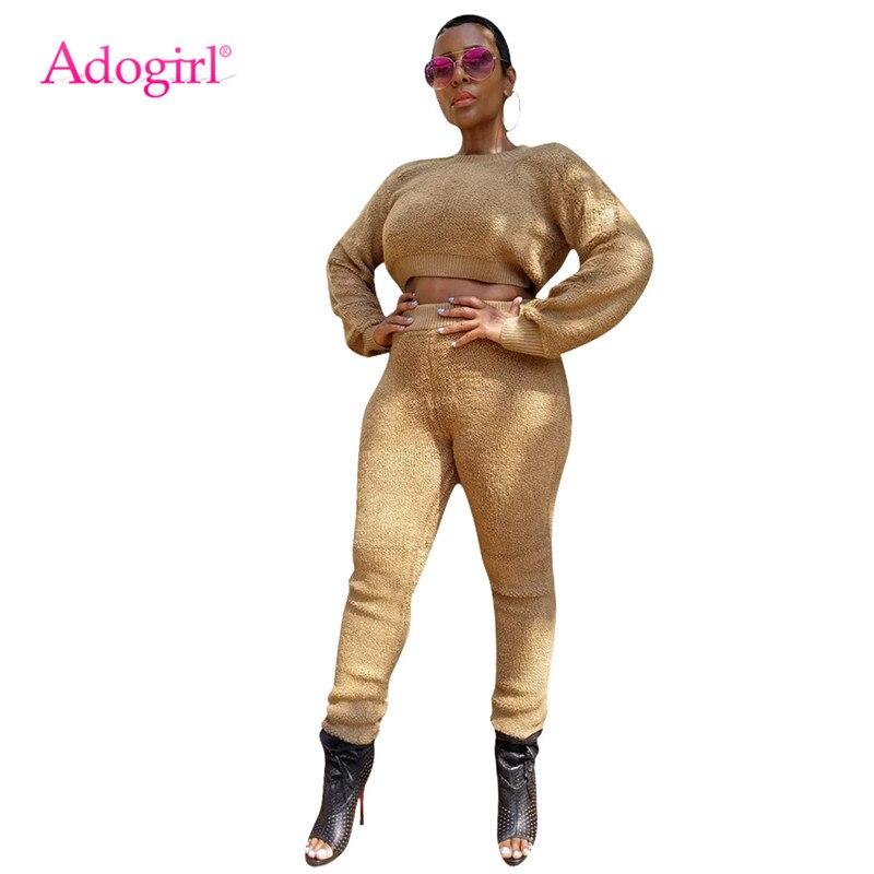 Adogirl Fashion Plush Two Piece Set 2019 Autumn Winter Warm Women Casual Suit Long Sleeve Sweatshirts Crop Top Pencil Pants