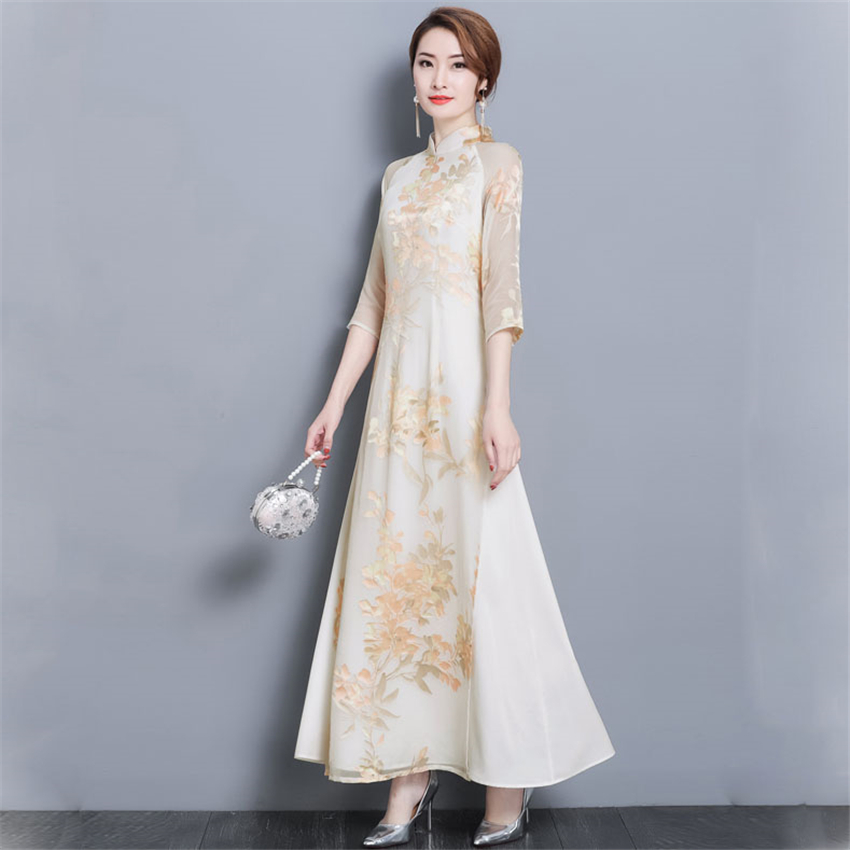 Ao Dai 2020 Spring Summer New Floral Vietnam Dress For Women Elegant Cheongsam Traditional Folk Qipao Asian Clothes Vestidos