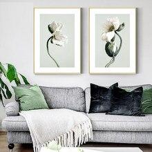 Planta verde pintura da lona flor pétala cartaz nórdico botânico arte impressão escandinavo imagem da parede para sala de estar decoração