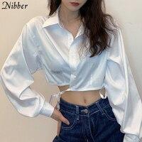 Nibber-Camiseta lisa básica de estilo preppy para mujer, camisetas holgadas de apertura en la espalda, tops cortos de alta calidad con cordones para oficina