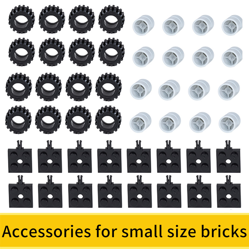 Wheels Axis Axle Set 48PCS Accessories For Small Building Blocks Eco-Friendly ABS Material Toy Gift For Children DIY Car