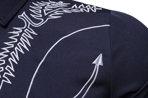 Image 4 - Mens Embroidered Arrow Design Western Shirt Stylish Slim Fit Long Sleeve Shirt Party Cowboy Festivals Button Down Shirt Camisas