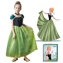 Disney Princess Anna Dress Girls Frozen Costume Cosplay Cartoon Gown Children Halloween Birthday Party Elsa Anna Green Vestido(China)