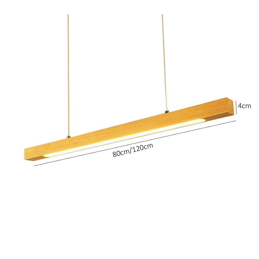 Bois pendentif LED lumière barre linéaire lampe suspendue horizontale 80cm 120cm salle à manger cuisine bureau luminaire Suspension lampe - 5