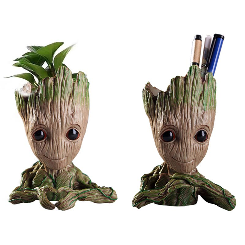 Vinyl Baby Groot Flowerpot Pen Pot Holder Plants Flower Pot Cute Action Figures Toys For Kids Gift Desktop Decoration