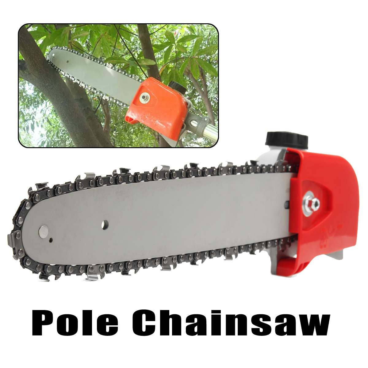 9 Spline Pole Chainsaw Saw Tree Cutter Tree Chainsaw Gearboxs Gear Head Tool +Chain+Guide For Woodworking 26mm