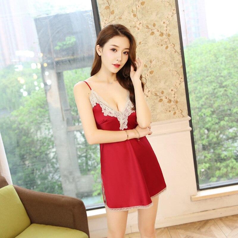 2019 Women Sleeveless   Nightgowns   Silk   Sleepshirts   Nightshirts Sleepwear Satin Sexy Spaghetti Strap Nightdress Nightwear