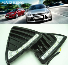 цена на For Ford Focus 3 MK3 2012~2015 Daytime Running Light DRL LED Fog Lamp Cover With Yellow Turning Signal Functions