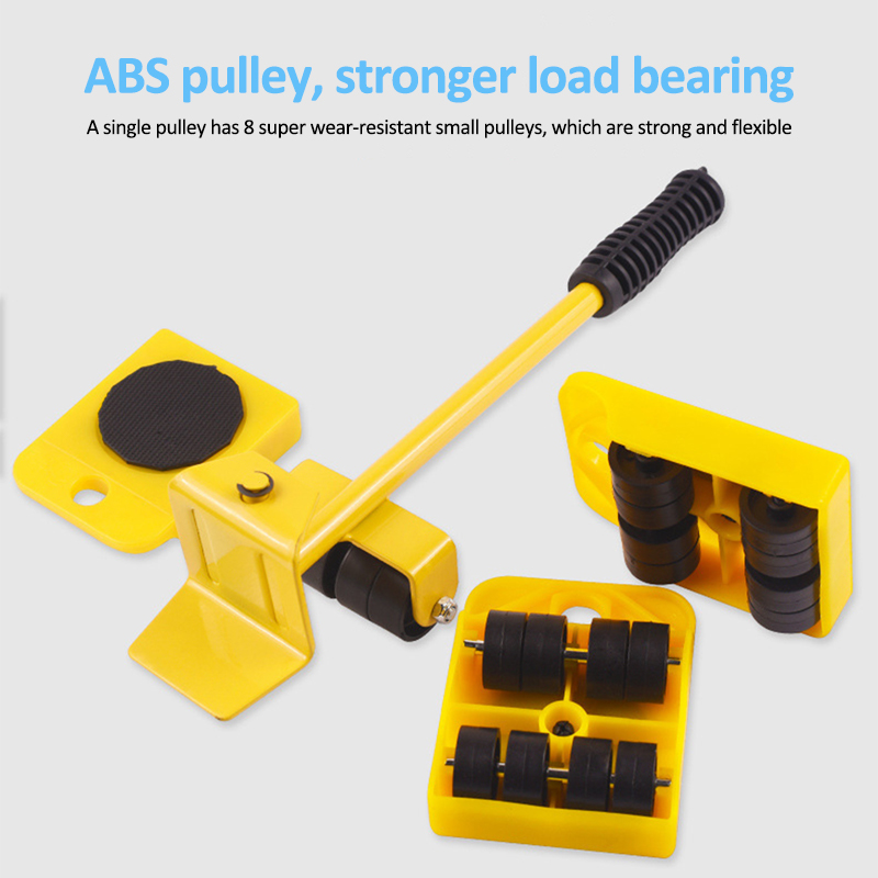 5Pcs Furniture Mover Tool Transport Lifter Set Heavy Stuffs Moving Wheeled Roller Bar Household Hand Tools Professional Sets-5