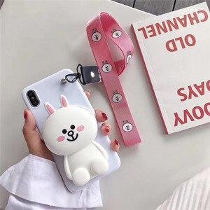 Image 2 - 3D Coreano Bonito Urso Pacote de Emoticon Coelho Totoro Caso de Telefone Carteira Para o iphone X XS MAX XR 6 6s 7 8 além de Capa de Silicone Macio