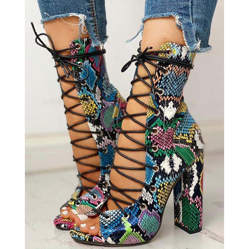 2020 Nightclub Spring Serpentine Platform High Heels Women Fashion High Heels 10cm Heels Platform Sandals Party Wedding Shoes