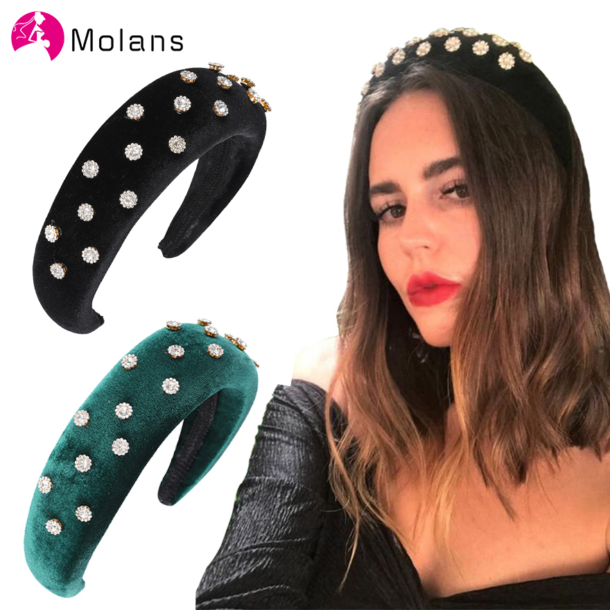 MOLANS Charm Rhinestone Floral Padded Velvet Hairbands Women Thick Sponge Headbands Head Wrapped Fashion Solid Wide Hair Hoops