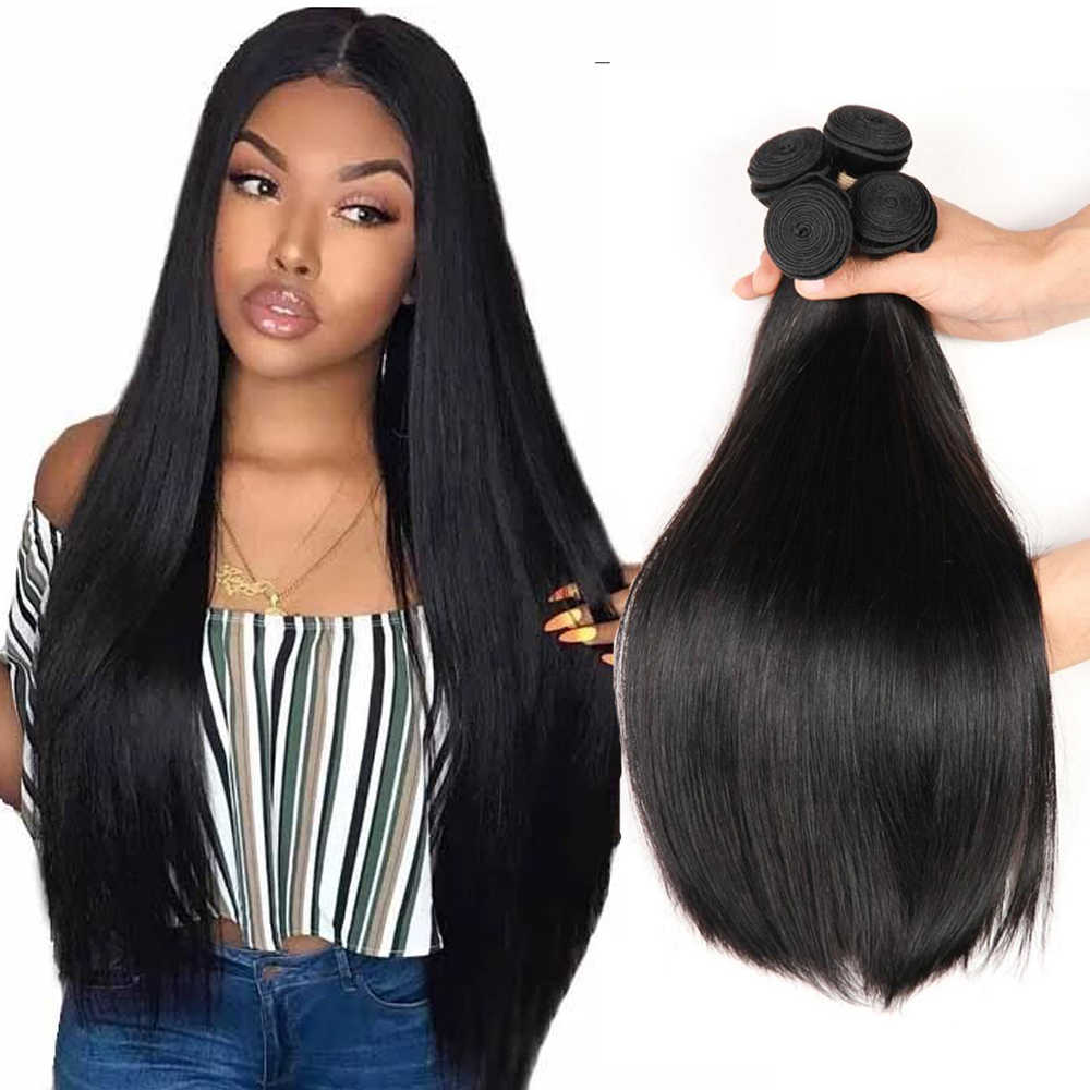 Allrun Menselijk Haar Bundels Haar Extention Braziliaanse Hair Weave Bundels Straight Hair Extentions Niet Remy 1/2/3/4 bundel 26 28 30