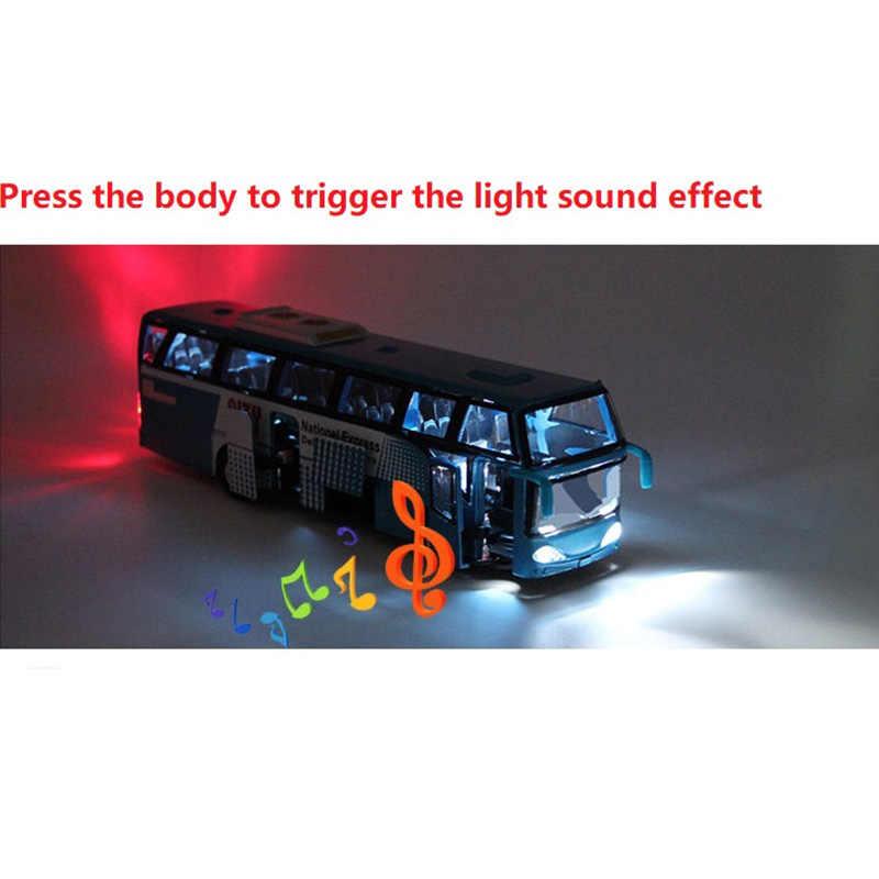 Modelos de coches de aleación de 1:32, autobús urbano de alta simulación, fundición, vehículos de juguete, retroceso y intermitente y Musical
