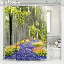 Shower Curtain Forest Trees 3D Bath Curtains Waterproof Polyester Fabric Elk Bathroom Shower Curtain Screen with Hooks Washable