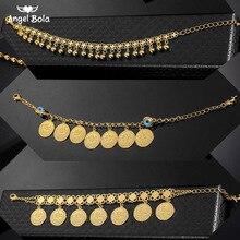 Turkish Blue Eye Bracelet Gold Color Never Faded Blue Evil Eye Crystal Charm Allah Bracelets for Islam Women Muslim Jewelry