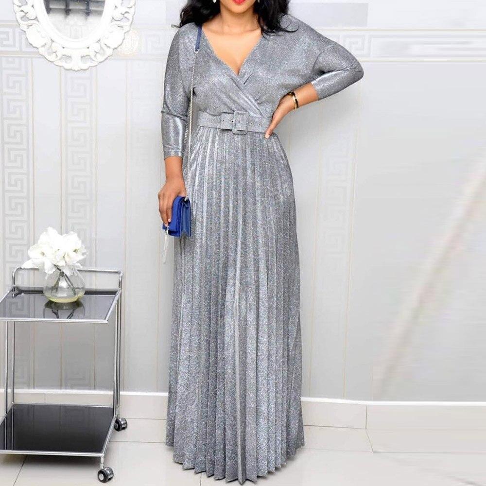 2020 Reflective Long Dress Women Pleated Sexy Deep V Neck Elegant Autumn High Waist Belt Glitter Evening Party Pink Maxi Dress