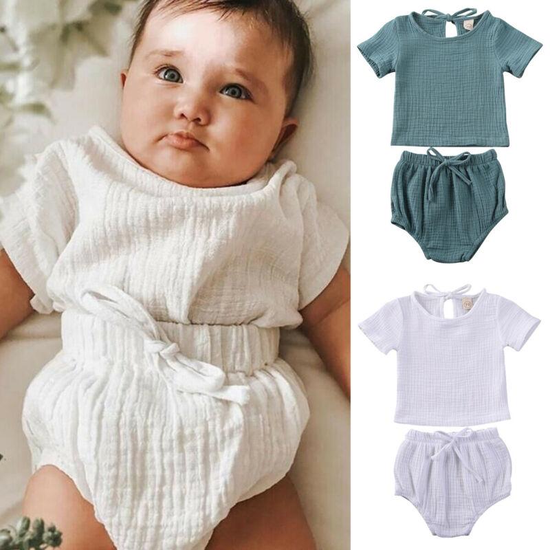 NEW 2020 Newborn Kids Baby Boy Girl Clothes Cotton&Linen Tops+Shorts Pants Outfits 2pcs Set