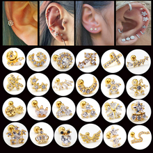 цена на 1PC Surgical  Steel Ear Tragus Cartilage Piercing Crystal Gold Moon Star Helix Cartilage Earring Conch Tragus Stud Piercing