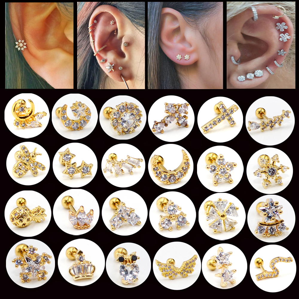 1PC Surgical Steel Ear Tragus Cartilage Piercing Crystal Gold Moon Star Helix Cartilage <font><b>Earring</b></font> Conch Tragus Stud Piercing image