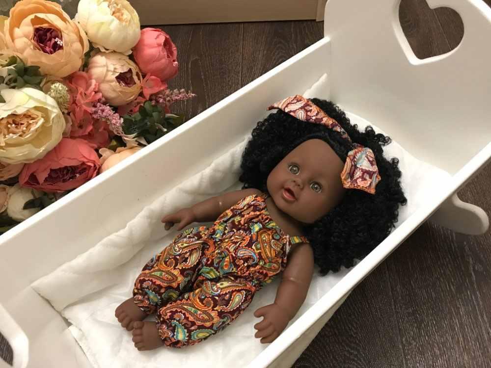 2020 schwarz puppe afro lange haar 30cm 12inch reborn boneca pop puppen baby neugeborenen voller silikon baby puppe lebendig spielzeug poupee