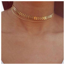 Temperament Personality Fishbone Texture Fashion Metal Necklace Clavicle Hot Selling Short Atmosphere Female Alloy