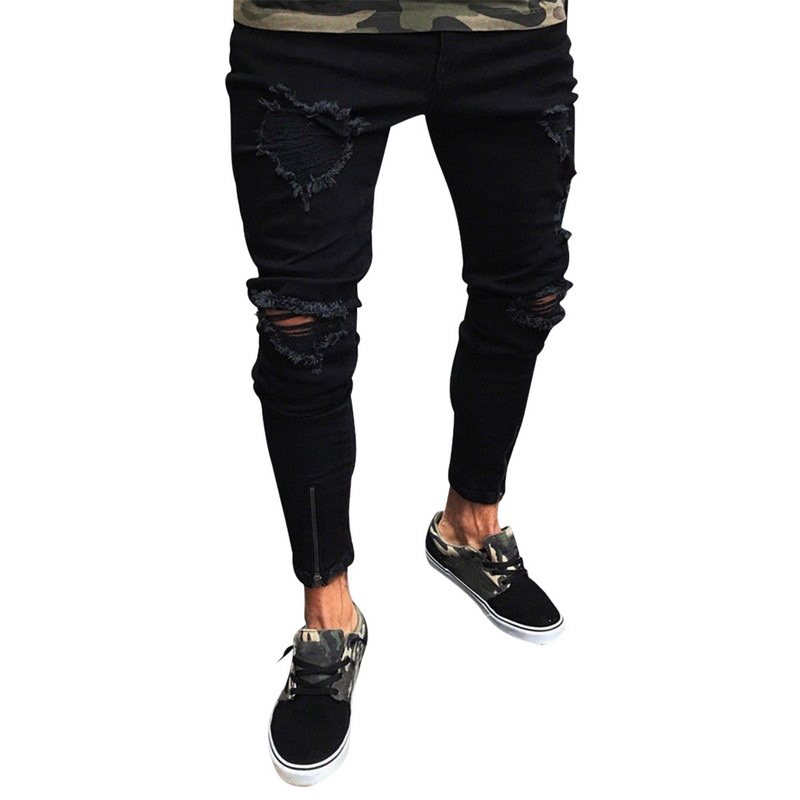 Mens Skinny Ripped Destroyed Jeans Trousers Cool Ripped Black Jeans Brand Design Sexy Jeans Pants Stretch Hip Hop Pencil Pants