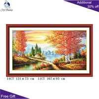 Joy Sunday Gold Landscape Home Decor F009 14CT 11CT Counted and Stamped Good Splendid Embroidery DIY Chinese Cross Stitch kits