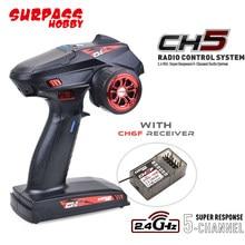Supere hobby ch5 2.4ghz super resposta sistema de rádio transmissor e receptor ch6f para 1:8 1:10 rc carro barco tanque skate brinquedos