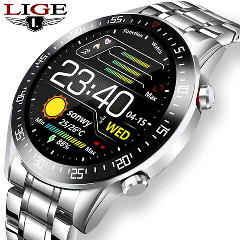 LIGEสมาร์ทนาฬิกาผู้ชายSmartwatch LED Full Touch ScreenสำหรับAndroid IOS Heart Rate Monitorนาฬิกาฟิตเนสกันน้ำ