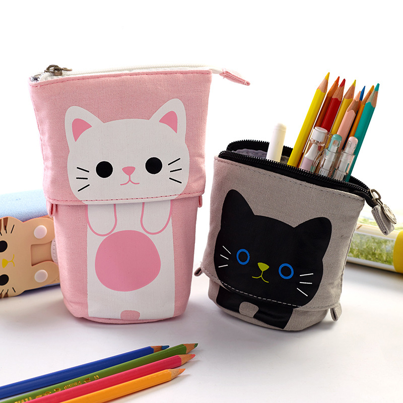 Telescopic Pencil Pouch Standing Pen Holder Cute Canvas Pencil Bags Stand Up Pen Case JLRL88