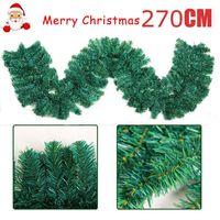 2,7 m Künstliche Grüne Weihnachten Girlande Kranz Weihnachten Home Party Weihnachten Dekoration Kiefer Rattan Hängen Ornament Für Kinder
