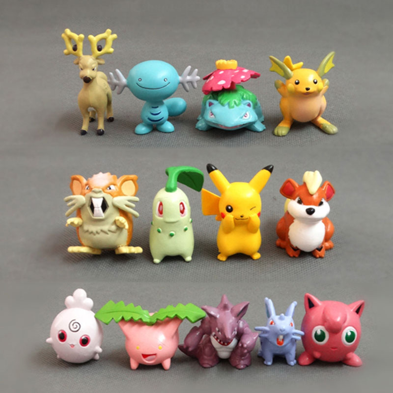 TAKARA TOMY 13pcs/set Anime Character Squirtle Bulbasaur Action Figure Model Toys Pokemon Figure Collectible Car Decoration 5cm image